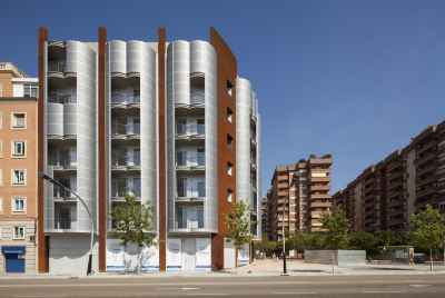 Newly built block of flats in upper part of Barcelona near Camp Nou Stadium